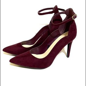 Marc Fisher Suede Ankle Strap Heeled Pump 9.5M